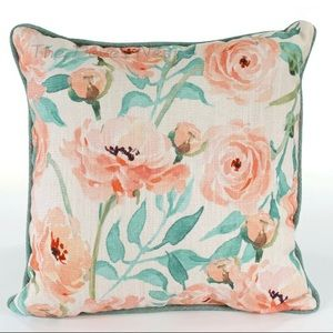 Peach Pink Sage Watercolor Floral Throw Pillow NWT